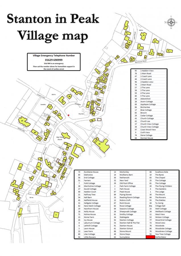Map of Stanton-in-Peak